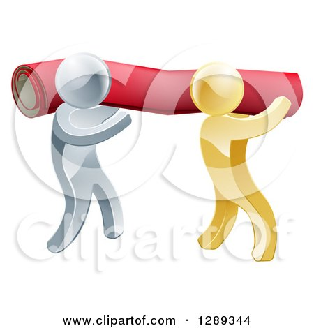 Clipart of 3d Silver and Gold Carpet Installers Carrying a Red Roll - Royalty Free Vector Illustration by AtStockIllustration