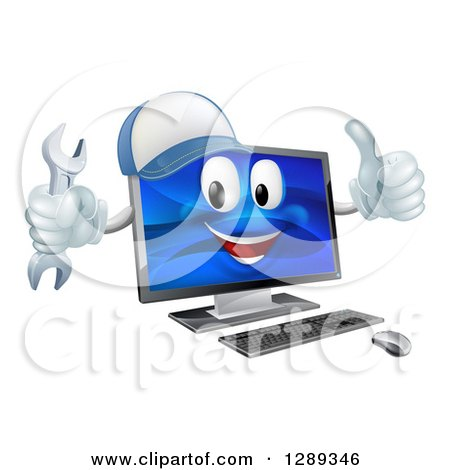 Clipart of a Happy Computer Mascot Wearing a Baseball Cap, Holding a Wrench and Thumb up - Royalty Free Vector Illustration by AtStockIllustration