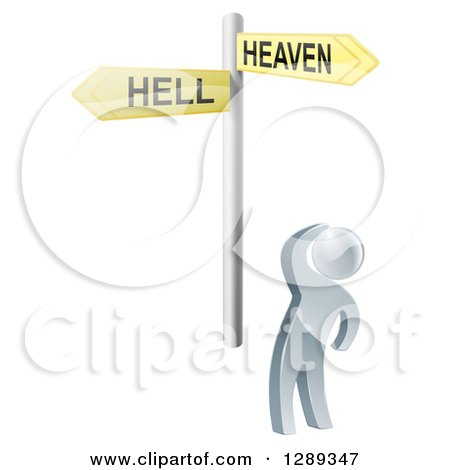 Clipart of a 3d Silver Man Looking up at Heaven or Hell Arrow Cross Roads Signs - Royalty Free Vector Illustration by AtStockIllustration