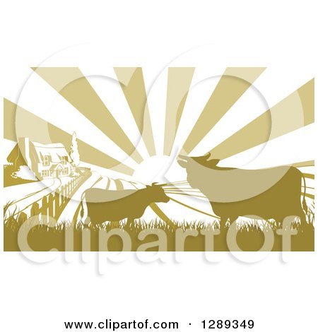 Clipart of a Sunrise over a Green Silhouetted Farm House with Cows and Fields - Royalty Free Vector Illustration by AtStockIllustration