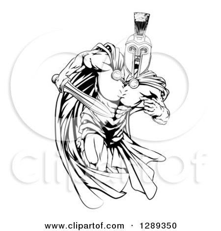 Clipart of a Black and White Muscular Spartan Warrior Man in a Cape, Running with a Sword - Royalty Free Vector Illustration by AtStockIllustration