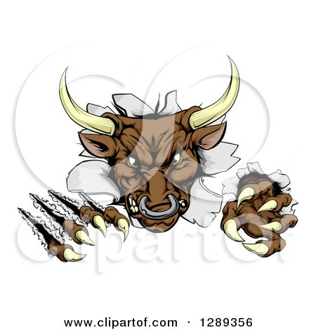 Clipart of a Mad Aggressive Bull Monster Clawing Through a Wall - Royalty Free Vector Illustration by AtStockIllustration