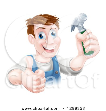 Happy Middle Aged Brunette Caucasian Worker Man Holding a Hammer and Thumb up Posters, Art Prints