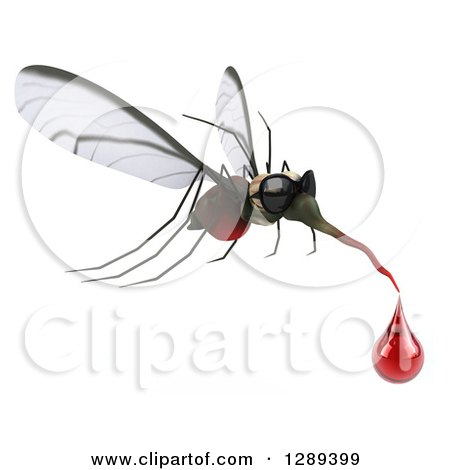 Clipart of a 3d Mosquito Wearing Sunglasses and Flying to the Right with a Blood Drop - Royalty Free Illustration by Julos