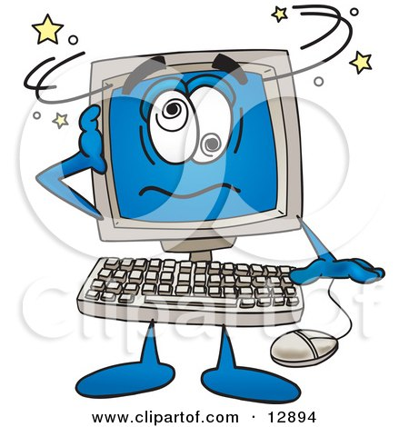 Desktop Computer Mascot Cartoon Character Confused and Seeing Stars Posters, Art Prints
