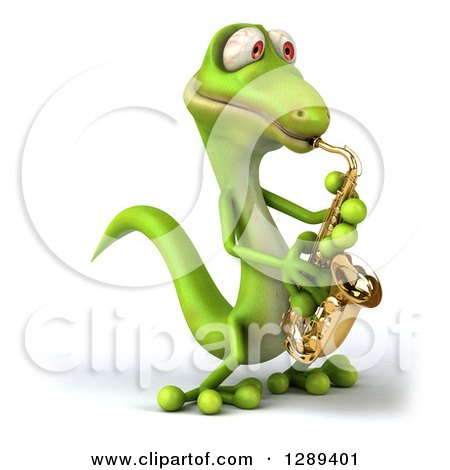 Clipart of a 3d Green Gecko Facing Slightly Left and Playing a Saxophone - Royalty Free Illustration by Julos