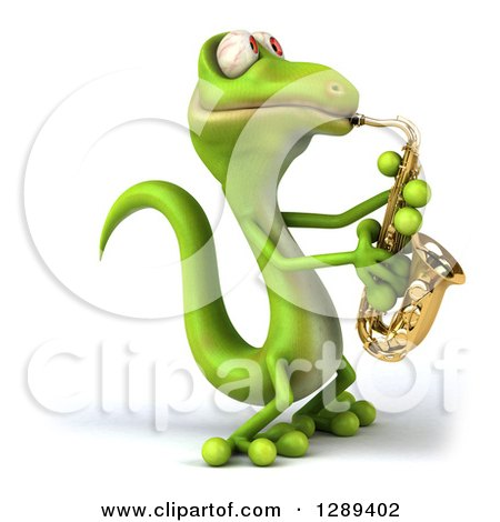 Clipart of a 3d Green Gecko Facing Left and Playing a Saxophone - Royalty Free Illustration by Julos