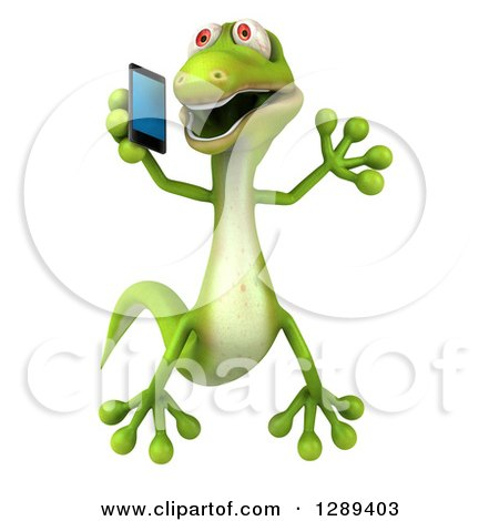 Clipart of a 3d Green Gecko Lizard Jumping and Talking on a Smart Cell Phone - Royalty Free Illustration by Julos