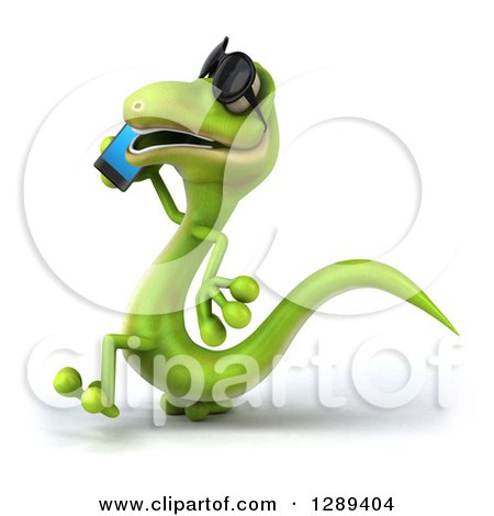 Clipart of a 3d Green Gecko Lizard Wearing Sunglasses, Walking to the Left and Talking on a Smart Cell Phone - Royalty Free Illustration by Julos