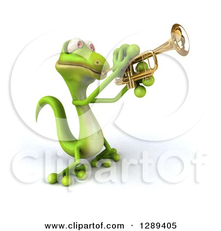 Clipart of a 3d Green Gecko Facing Slightly Left and Playing a Trumpet - Royalty Free Illustration by Julos