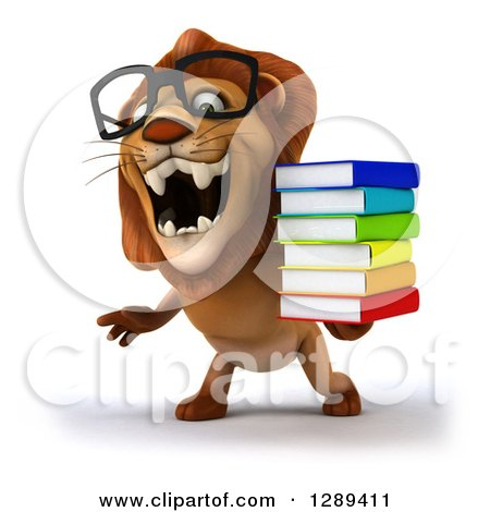 Clipart of a 3d Bespectacled Male Lion Roaring and Holding a Stack of Books - Royalty Free Illustration by Julos