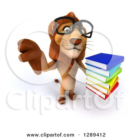 Clipart of a 3d Bespectacled Male Lion Holding up a Thumb down and a Stack of Books - Royalty Free Illustration by Julos