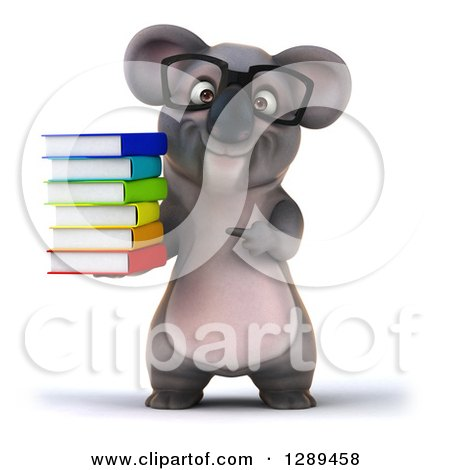 Clipart of a 3d Bespectacled Koala Holding and Pointing to a Stack of Books - Royalty Free Illustration by Julos