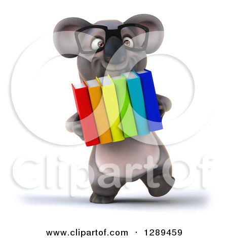 Clipart of a 3d Bespectacled Koala Walking with Books - Royalty Free Illustration by Julos