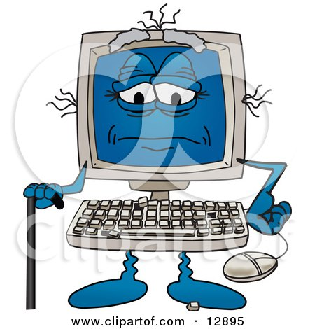 Really Old Desktop Computer Mascot Cartoon Character With a Cane Posters, Art Prints