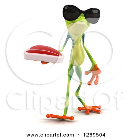 Animal Clipart of a 3d Argie Frog Wearing Sunglasses and Walking with a Beef Steak - Royalty Free Illustration by Julos