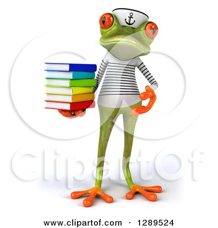 Animal Clipart of a 3d Bespectacled Green Springer Frog Sailor Holding and Presenting a Stack of Books - Royalty Free Illustration by Julos