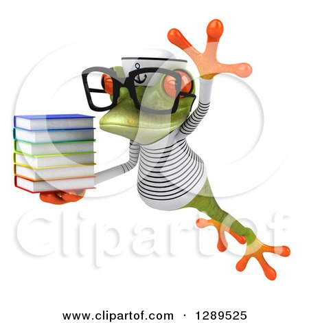 Animal Clipart of a 3d Bespectacled Green Springer Frog Sailor Leaping to the Left and Holding a Stack of Books - Royalty Free Illustration by Julos