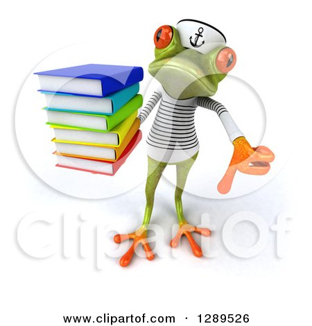 Animal Clipart of a 3d Bespectacled Green Springer Frog Sailor Holding up a Stack of Books and a Thumb down - Royalty Free Illustration by Julos