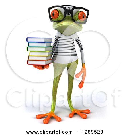 Animal Clipart of a 3d Bespectacled Green Springer Frog Sailor Holding a Stack of Books - Royalty Free Illustration by Julos
