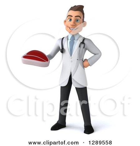 Medical Clipart of a 3d Young Brunette White Male Doctor Holding a Beef Steak - Royalty Free Illustration by Julos