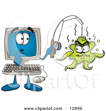 Clipart Picture of a Shocked Desktop Computer Mascot Cartoon Character With an Octopus on His Fishing Line by Toons4Biz