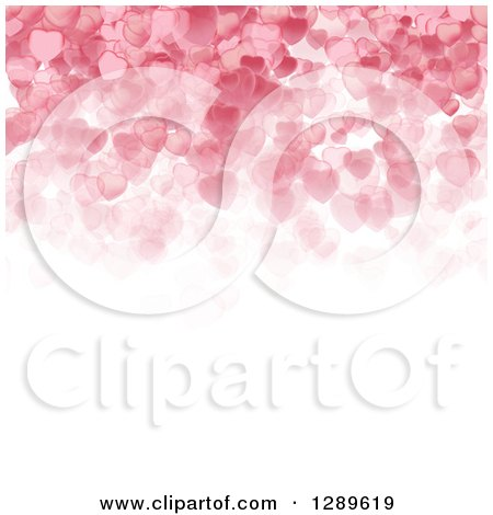 Clipart of a Background of Pink Valentine Hearts over White Text Space - Royalty Free Vector Illustration by vectorace