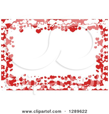 Clipart of a Horizontal Background of Red and White Valentine Hearts Around Text Space - Royalty Free Vector Illustration by vectorace