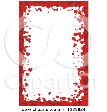 Clipart of a Vertical Background of Red Valentine Hearts Around White Text Space - Royalty Free Vector Illustration by vectorace