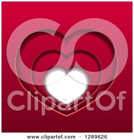 Clipart of a Background of Layers of Red Hearts and White Space - Royalty Free Vector Illustration by vectorace