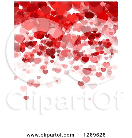 Clipart of a Background of Red and Pink Valentine Hearts over White Text Space - Royalty Free Vector Illustration by vectorace