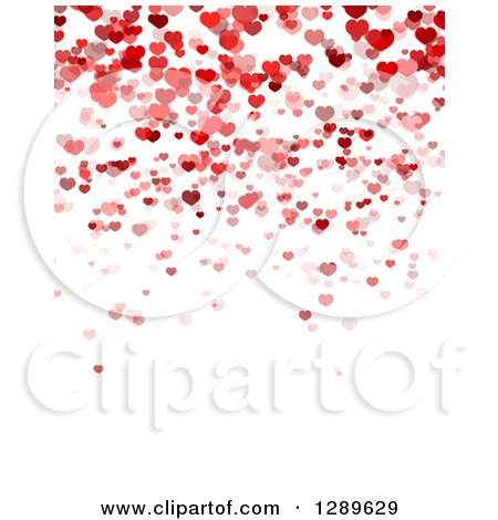 Clipart of a Background of Red and Pink Valentine Hearts over White Text Space 3 - Royalty Free Vector Illustration by vectorace