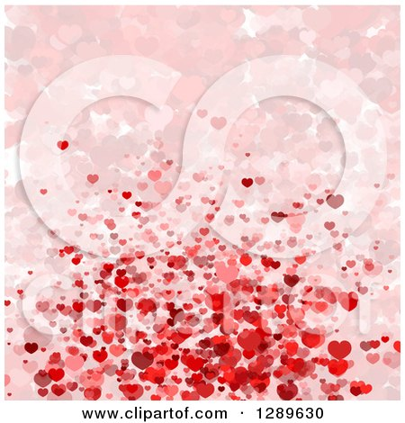 Clipart of a Background of Pink and Red Valentine Hearts, Some Faded - Royalty Free Vector Illustration by vectorace
