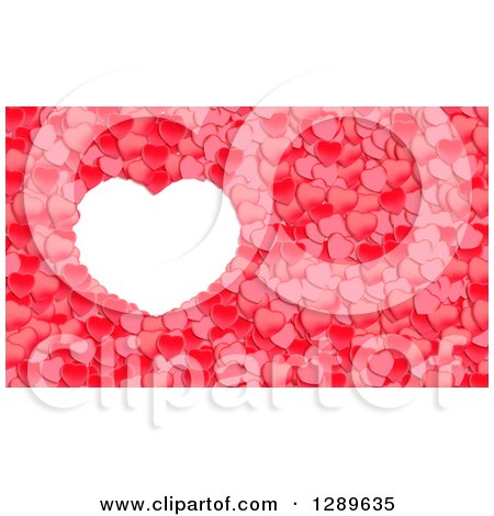 Clipart of a White Frame with Red Valentine Hearts 2 - Royalty Free Vector Illustration by vectorace