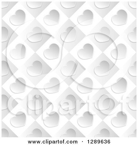 Clipart of a Background of Diagonal Silver Valentine Hearts on Gray and White Tiles - Royalty Free Vector Illustration by vectorace