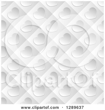 Clipart of a Background of Diagonal Silver Valentine Hearts on Gray Tiles - Royalty Free Vector Illustration by vectorace