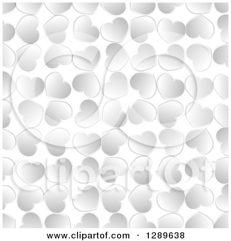 Clipart of a Background of Silver Valentine Hearts on White - Royalty Free Vector Illustration by vectorace