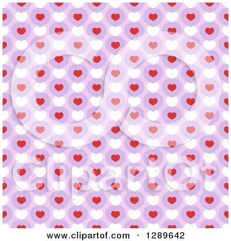 Clipart of a Seamless Valentines Day Pattern Background of Hearts over Purple - Royalty Free Vector Illustration by vectorace