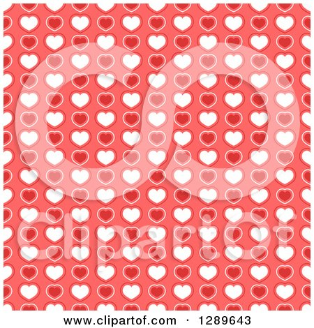 Clipart of a Seamless Valentines Day Pattern Background of Red and White Hearts on Pink - Royalty Free Vector Illustration by vectorace