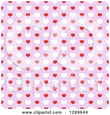 Clipart of a Seamless Valentines Day Pattern Background of Red and White Hearts on Purple - Royalty Free Vector Illustration by vectorace