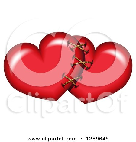Clipart of a Red Valentine Yearts Sewn Together - Royalty Free Vector Illustration by vectorace