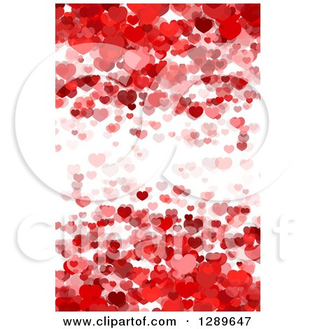 Clipart of a Background of Layers of Red Hearts over White - Royalty Free Vector Illustration by vectorace