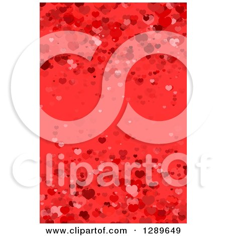 Clipart of a Background of Valentine Hearts on Red - Royalty Free Vector Illustration by vectorace