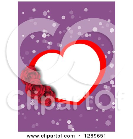 Clipart of a White and Red Valentine Heart Frame with Roses over Purple and White Spots - Royalty Free Vector Illustration by vectorace