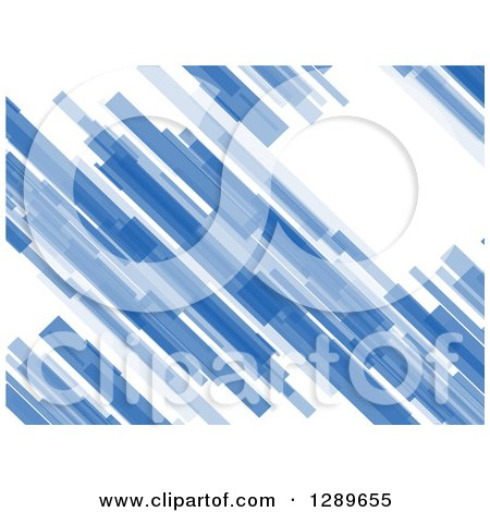Clipart of a Background of Abstract Blue Diagonal Particles on White - Royalty Free Vector Illustration by vectorace