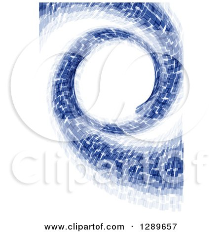 Clipart of a Background of Abstract Blue Spiraling Particles on White - Royalty Free Vector Illustration by vectorace