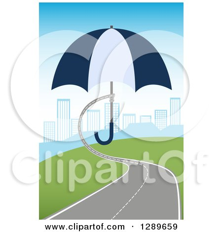 Clipart of a Roadway Turning into a Hand Holding an Umbrella over a City - Royalty Free Vector Illustration by vectorace