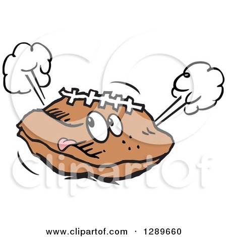 Clipart of a Deflated Football Sticking Its Tongue out - Royalty Free Vector Illustration by Johnny Sajem
