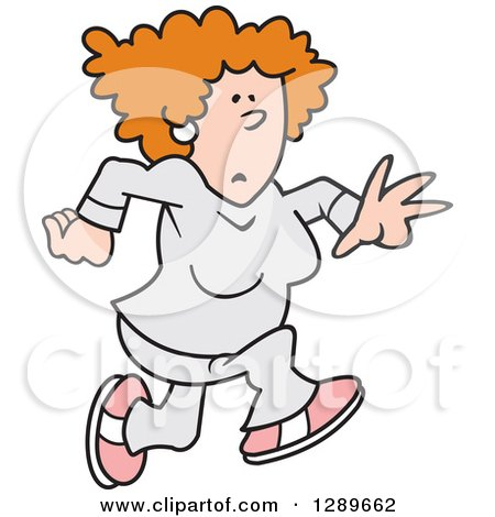 Clipart of a Red Haired Caucasian Woman Jogging - Royalty Free Vector Illustration by Johnny Sajem