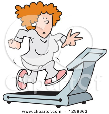 Clipart of a Red Haired Caucasian Woman Running on a Treadmill - Royalty Free Vector Illustration by Johnny Sajem